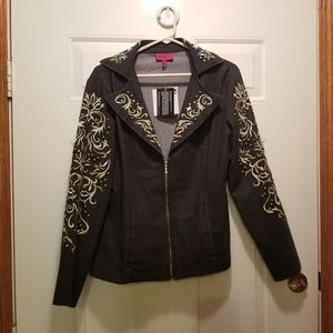 Antthony Originals Embellished Black Denim Jacket